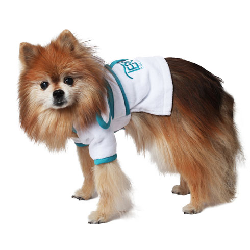 PR - Hooded Pet Robe, White Velour,Velcro Closure at Chest and Tie Belt at Waist